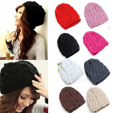 New Women Knit Winter Warm Crochet Hat Braided Baggy Beret Beanie Cap Fashion jv