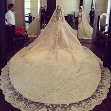 Hot Luxury Lace Applique Edge Wedding Veil White/Ivory Cathedral Comb New Custom
