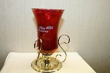 RED GLASS 40TH ANNIVERSARY METAL GLOW CANDLE VOTIVE ON GOLD TONE METAL STAND