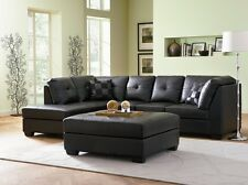 Modern 2Pc Black Bonded Leather Sectional Sofa Set Couch Living Room Furniture