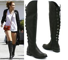 Ladies New Knee High Boots Women Flat Heels Back Lace Fux Leather Women Shoes Si