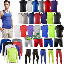 Mens Sports Compression Base Layers Tops Tight Skin T-Shirt/Vest Shorts Pants