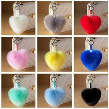 Fashion Charm Key Ring Faux Fox Fur Heart PomPom Car Keychains Handbag Pendant