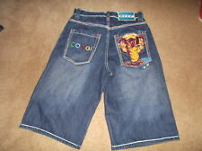 COOGI SIZE 10 DENIM WITH EMBROIDERY TRIM SHORTS WITH SNAKE ON BACK POCKET