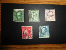 UNITED STATES USED STAMPS - SCOTT # 481 486 489 492 & 496 -  5 USED COILS