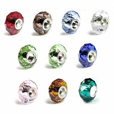 925 Sterling Silver Birthstone Round Crystal Cz Bead for European Charm Bracelet