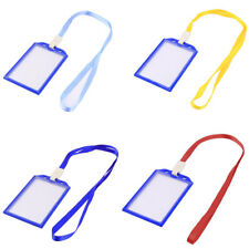 Factory Plastic Vertical ID Card Name Tag Neck Strap Lanyard Badge Holder 10Pcs