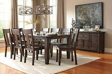 Casual 9pc Set Solid Pine Wood Brown Ashley Designed Dining Room Furniture #D658