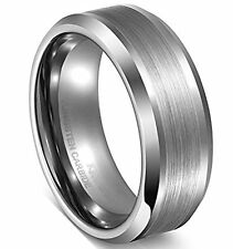 Unisex 8MM Tungsten Ring Wedding Band Comfort Fit Matte Finished Center Comfort