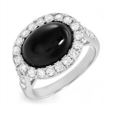 Black Onyx Clear CZ Ring .925 Sterling Silver 2.00 ctw Choice Of: Size 6 or 7 ss