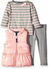Nautica Baby Girls' Puffy Vest, Striped Shirt and Jegging (12M-24M) MSRP $69.50