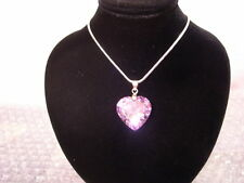 NEW SWAROVSKI ELEMENTS AMETHYST PURPLE CRYSTAL HEART PENDANT AND NECKLACE
