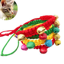 Pet Puppy Dog Cat Kitten Adjustable Collar Necklace Weave Rope With Bells Top