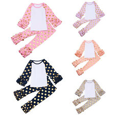 Girls Kids Baby Cotton Tops T-shirt Pants Icing Ruffle Trousers Leggings Blouse