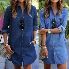 AU Women Long Sleeve Denim Casual Jean Button Down Polo T-Shirt Mini Short Dress