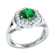 0.80 ct Natural Green Emerald & Certified Diamond Solid Gold Engagement Ring