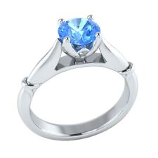 0.65 ct Solitaire Natural Blue Topaz Solid Gold Wedding Engagement Ring