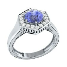 0.75 ct Natural Blue Tanzanite & Certified Diamond Solid Gold Engagement Ring