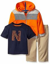 Nautica Boys 3 Piece Fleece Set Full Zip Hoodie, Tee and Twill Pants MSRP $59.50