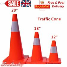 """New 28"""" Traffic Cones Fluorescent Red Reflective Road Safety Parking Cones UK"""