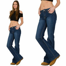 New Womens Ladies Blue Bootcut Flared Stretch Mid Rise Jeans Faded Denim Flares
