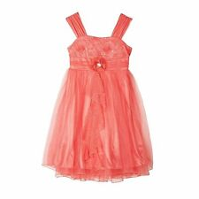 New Girls Amy's Closet Coral Pink Garden Party Sparkle Rose Dress Size 12 16