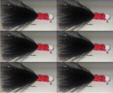 6pk White Head, Black Marabou Feather, Red Collar Hand Tied Jigs