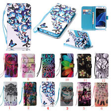 Flip Leather Stand PU Card Patterned Wallet Phone Case Cover For Samsung Galaxy