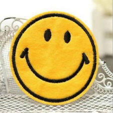 Happy Smile Face Yellow Iron On Applique Embroidered Patch DIY Sewing 6cm New