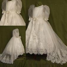 Baby Infant Baptism Christening Gown Satin Dress First Bless Size Born Handmade