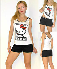 "NWT Sanrio Hello Kitty ""Selfie"" Shorts and Top Lounge/Sleep PJ Set S,M,L,XL"