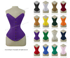 26 Double Steel Boned Waist Train Cotton Overbust Shaper Wider Hips Corset #8837