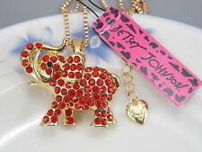 Betsey Johnson fashion jewelry Red Crystal elephant pendant necklace # B