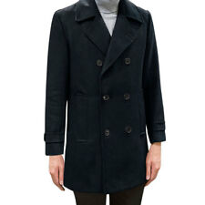 Men Notched Lapel Double Breasted Long Worsted Coat