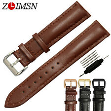 Mens Genuine Leather Watch Band Strap Silver Stainless Steel Buckle 18mm ~ 26mm