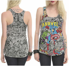 Marvel AVENGERS Group Comic Color POP Tank Top Thor Hulk Iron Man America Yellow