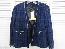 NWT Zara TWEED JACKET COAT  BLAZER NAVY BLUE L $149 REF. 2786/785 SOLD OUT RARE