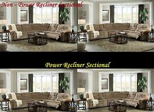Contemporary Caramel Color Motion Uph Sectional Sofa Set Pwr & Non Pwr Recliner