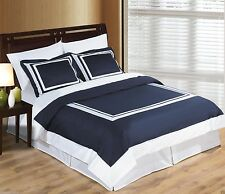 Wrinkle Free Navy Blue & White Cotton Hotel Duvet Cover Bedding Set - ALL SIZES