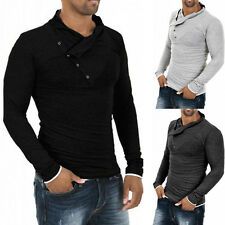 Stylish Mens Oblique Buttons Neck Casual Tops Dress Slim Fit Long Sleeve Shirts