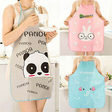 Women's Cute Cartoon Waterproof Apron Kitchen Restaurant Cooking Bib Aprons FS