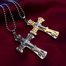 Men/Women Silver Gold Stainless Steel Cross Pendant Charm Necklace Chain Jewelry