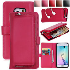 Flip PU Leather Magnetic Detachable Wallet Card Case For Samsung Galaxy Phones