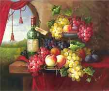Oil painting Modern Art Deco classical Wine Fruits picture print Canvas No Frame