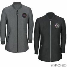New Mens Longline Bomber Jacket Wool Blend Baseball Coat Slim Fit in Black, Grey