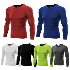 Athletic Long Sleeve Mens Compression Under Base Layer Shirt Tops Tight T-Shirts