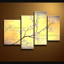 4 Pieces Contemporary Wall Art Landscape Painting Tree Oil On Canvas