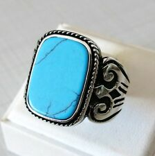 Handmade  Turkish 925 Sterling Silver Natural TURQUOISE Stone Men's RING #861
