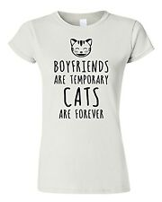 Ladies Fitted Tee | Boyfriends are temporary Cats are forever T-shirt