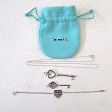 Tiffany & Co Sterling Silver Heart Key Pendants, Necklace & Bracelet